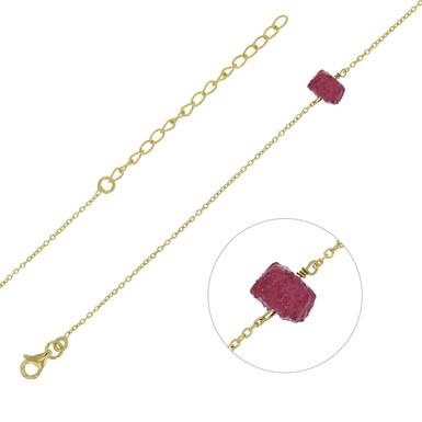 Bracelet Rubis Naturel Argent 925 Rhodié Or Jaune pour Femme