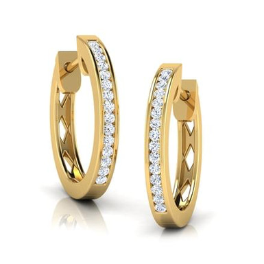 TIPHAINE, Boucles d'Oreilles Créoles Diamants pour Femme Or 18 carats