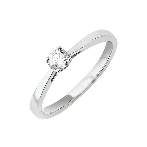 Foryou, Bague Diamant Solitaire Or Blanc 18 carats