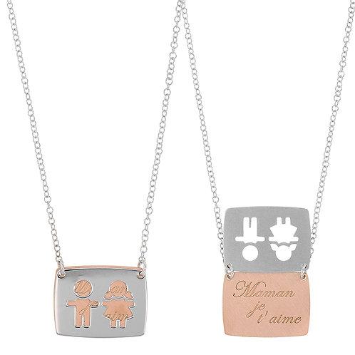 MOMS, collier bicolore pour femme en argent 925 blanc et rose 45 cm ajustable
