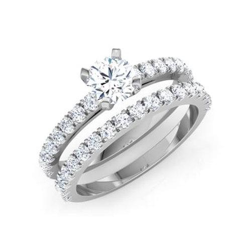 """Duo """"LINDA"""" Bague Diamant Solitaire pour Femme Or Blanc 18 carats"""