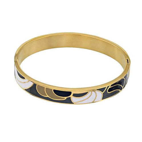 Alendra, Bracelet Rhodié Or Jaune réalisé avec de l'Email design Murano