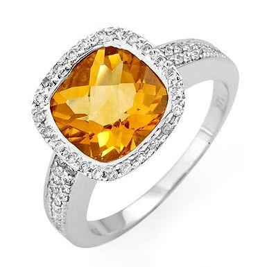 AMANDA, Bague Diamants Citrine pour Femme Or Blanc 18K 750°