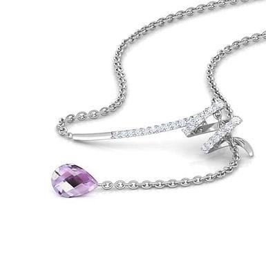 RIVA, Collier pendentif diamant et améthyste pour femme Or 18 carats