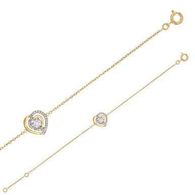 LOV, Bracelet Coeur serti d'oxydes de zirconium pour Femme plaqué or jaune