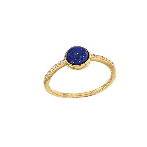 Bague cabochon Lapis-lazuli en plaqué or et oxyde de zirconium