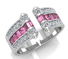 Ghaum Joaillerie - Acaht de Bague diamant saphirs roses or blanc 18 carats