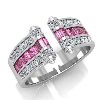 VENDOME ROYALE FbyG, Bague Diamants Saphirs pour Femme Or Blanc 18 Carats