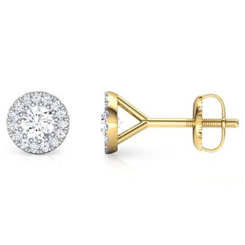 ETERNITY, Boucles d'Oreilles Puces Diamants pour Femme Or Jaune 18 carats