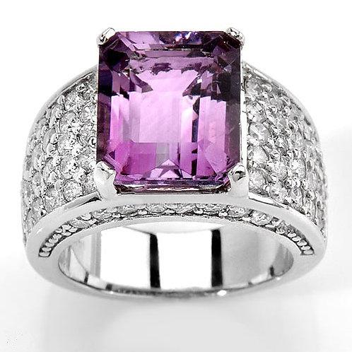 OMBELINE, Bague Diamant Améthyste pour Femme Or Blanc 18 carats
