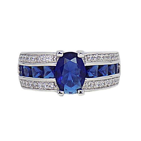 """SOPHIE, Bague """"diamants et saphirs"""" en oxyde de zirconium pour femme"""