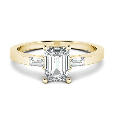 Blossom, Bague Diamant Solitaire et Baguette / G / VS Or 18 carats