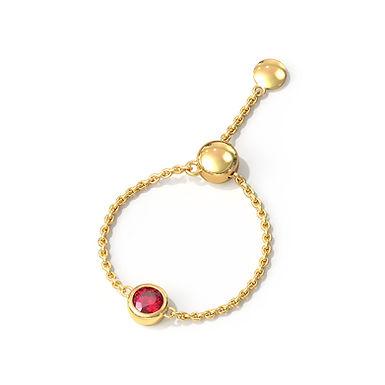 Red Sun, Bague Diamant Or Jaune 14 carats - Taille Auto Ajustable de 45 à 62
