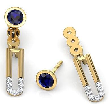 VENISE, Boucles d'Oreilles Diamants Saphirs pour Femme Or 18 carats