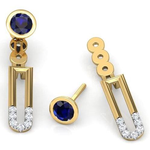 VENISE, Boucles d'Oreilles Diamants Saphir pour Femme Or Jaune 18 carats