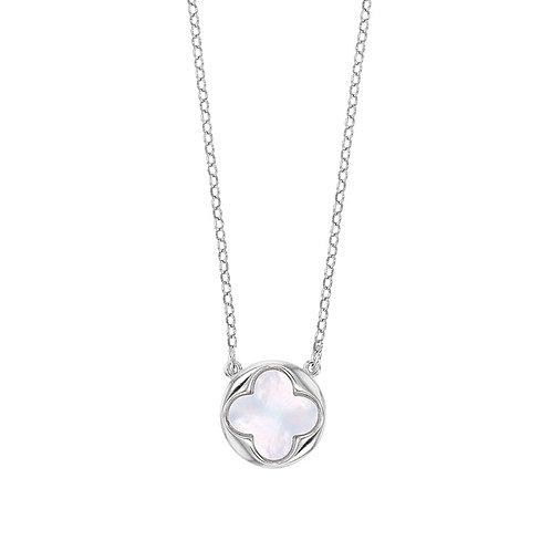 Collier Perla en argent 925° rhodié or blanc orné d'une fleur en nacre de Tahiti