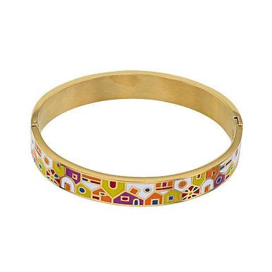 Florina, Bracelet Rhodié Or Jaune réalisé avec de l'Email design Murano