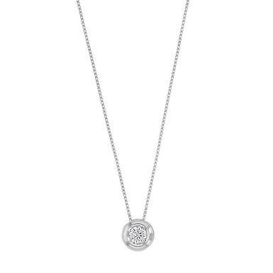Lacy, collier pendentif diamant en oxyde solitaire pour femme Or 18 carats