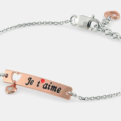 JeTM, Bracelet Deux Tons Or Rose et Or Blanc 18 carat serti d'un Brillant