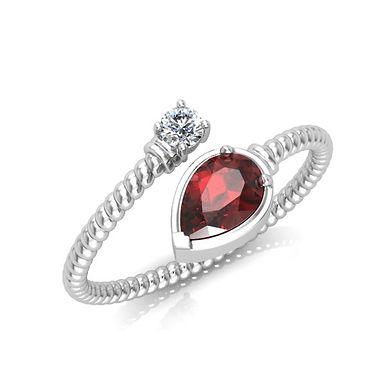 TORTILLE, Bague diamant or blanc 18 carats 750° d'or fin pour femme