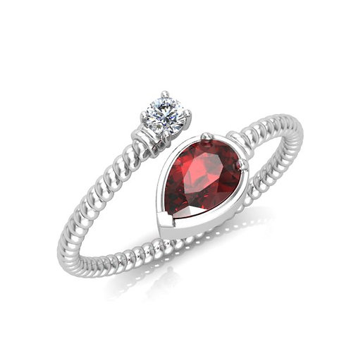 bague diamant rubis tortille or blanc 18k 750° d'or fin
