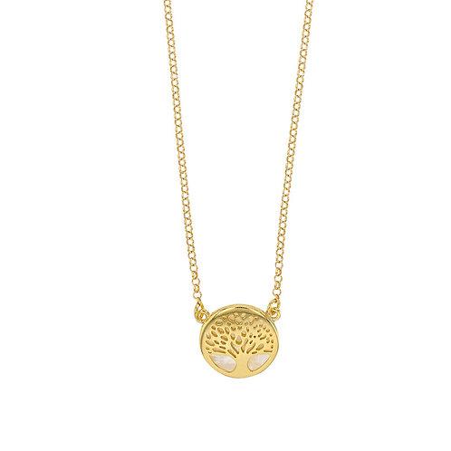 """Collier en argent 925 et Nacre de Tahiti """"Arbre de Vie"""" rhodié or jaune"""