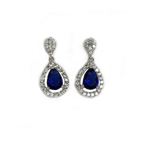 """SAPHIR, Boucles d'Oreilles """"diamants saphirs"""" en oxyde de zirconium femme argent"""
