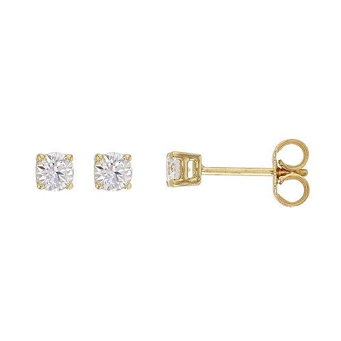 """Boucles d'Oreilles """"Puces"""" Diamant Solitaire Certifié IGI Or Jaune 18 carats"""