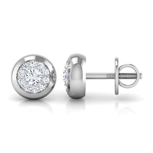 ISA, Boucles d'Oreilles Diamants pour Femme Or Blanc 18 carats