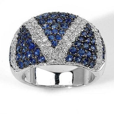 J'M FbyG, Bague Diamants Saphirs pour Femme Or Blanc 18 Carats
