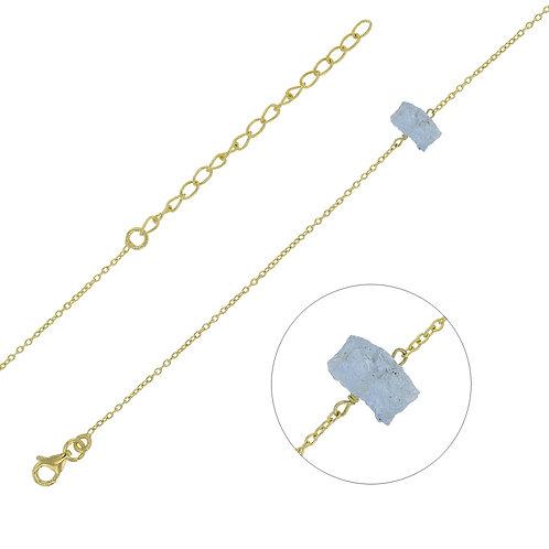 Bracelet Aigue Marine Naturelle Argent 925 Rhodié Or Jaune pour Femme