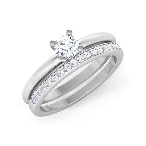 """Duo """"Anastasia"""" Bague Diamant Solitaire pour Femme Or Blanc 18 carats 750°"""