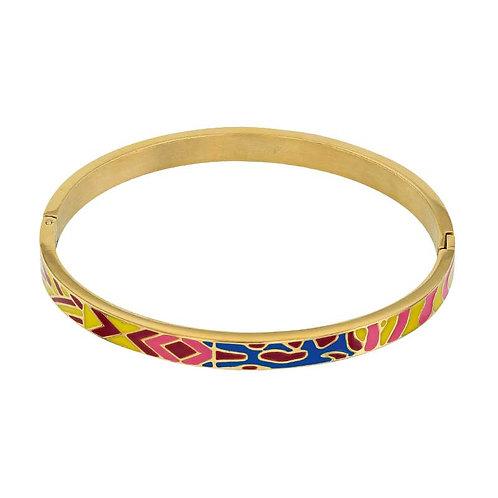 Fabiola, Bracelet Rhodié Or Jaune réalisé avec de l'Email design Murano