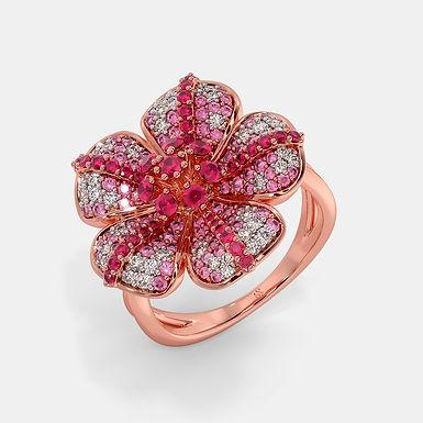 Natys, Bague Diamants Saphirs Rubis Or Rose 18 carats