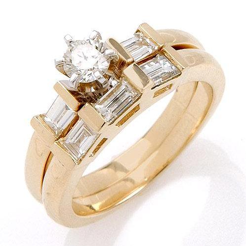 """Duo de Bagues Diamants Solitaire pour Femme """"Solaris"""" Or Jaune 18 carats 750°"""