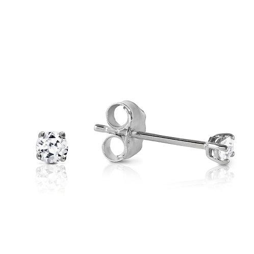 """Boucles d'Oreilles """"Puces"""" 2 x 0,12 ct Diamant Solitaire Or Blanc 18 carats"""
