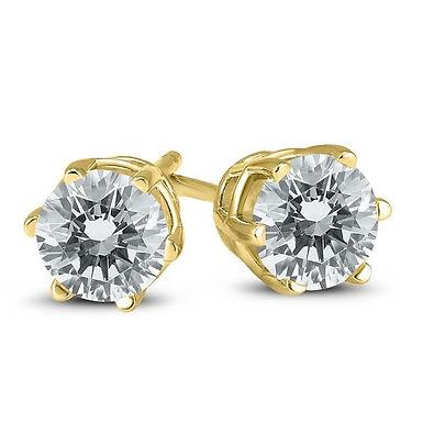 """Boucles d'Oreilles """"Puces"""" Diamant Solitaire Certifié IGI Or Jaune 18 c"""