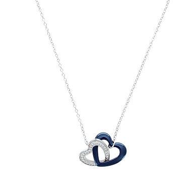 COEUR DUO, collier pour femme en argent 925 et céramique 45 cm ajustable