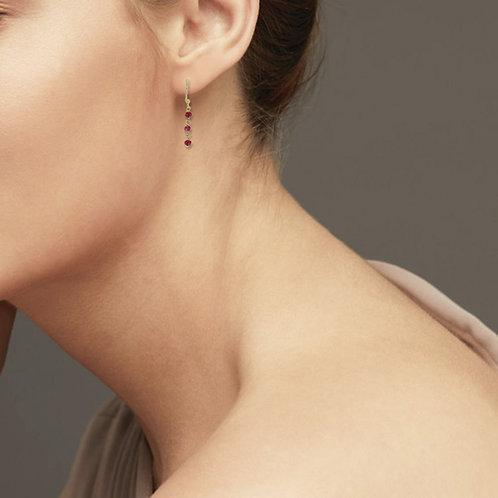 Boucles d'Oreilles Rubis Naturel Argent 925 Rhodié Or Jaune pour Femme