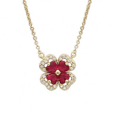 """RUBY, collier pour femme """"diamants rubis"""" en oxyde de zirconium plaqué or"""