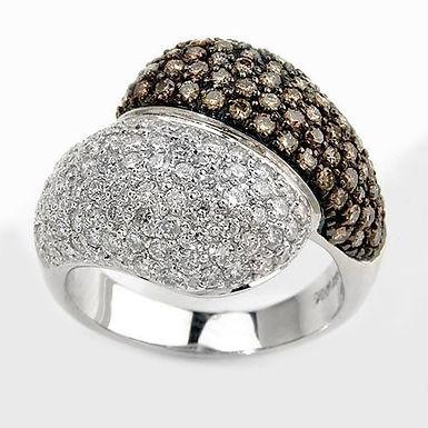 U&Mi FbyG, Bague Diamants Onyx pour Femme Or Blanc 18 Carats
