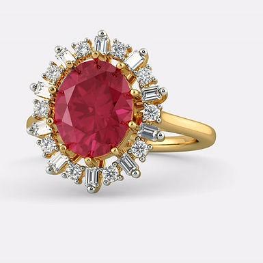 RUBIRED-J FbyG, Bague Diamants Rubis Joaillerie pour Femme Or Jaune 18 carats