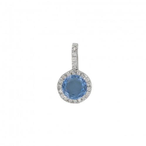 """Pendentif """"Tia"""" orné d'une topaze et diamants en oxydes de zirconium"""
