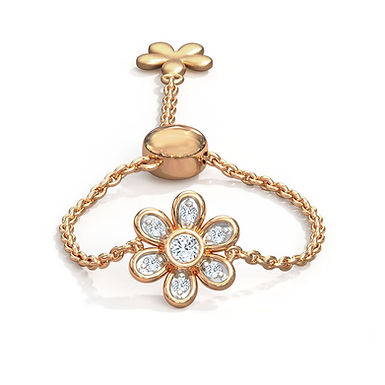 Fleurette, Bague Diamants Or Rose 18 carats - Ajustable de la taille 45 à 62