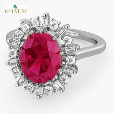 RUBIRED FbyG, Bague Diamants Rubis Joaillerie pour Femme Or Blanc 18 carats