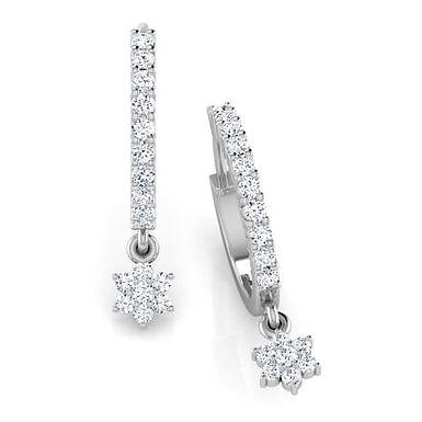 FANNY, Boucles d'Oreilles Diamants pour Femme Or Blanc 18 carats