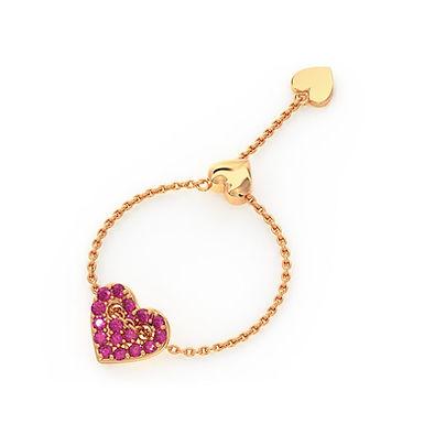 Coeur d'Amour, Bague Diamant Or Rose 14 carats - Taille Auto Ajustable 45 à 62