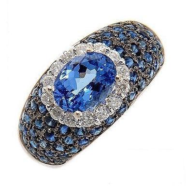 Admé FbyG, Bague Diamants Saphirs Topaze pour Femme Or Blanc 18 Carats