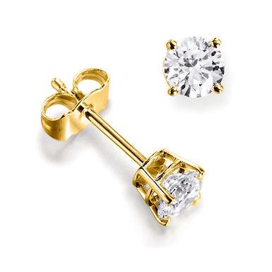 """Boucles d'Oreilles """"Puces"""" 2 x 0,22 ct Diamant Solitaire Or Jaune 18 carats"""