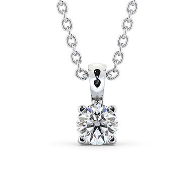 Alley, Pendentif Diamant Solitaire Or Blanc 18 carats